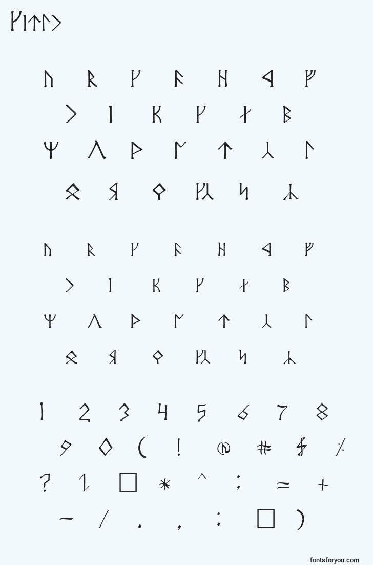 characters of cirth font, letter of cirth font, alphabet of  cirth font