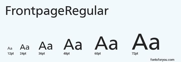 sizes of frontpageregular font, frontpageregular sizes