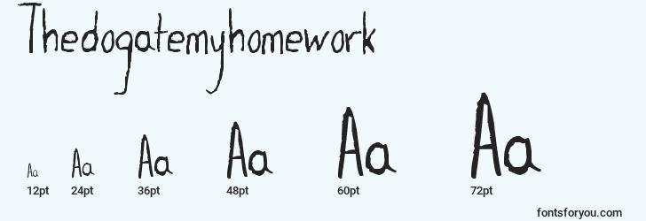 sizes of thedogatemyhomework font, thedogatemyhomework sizes