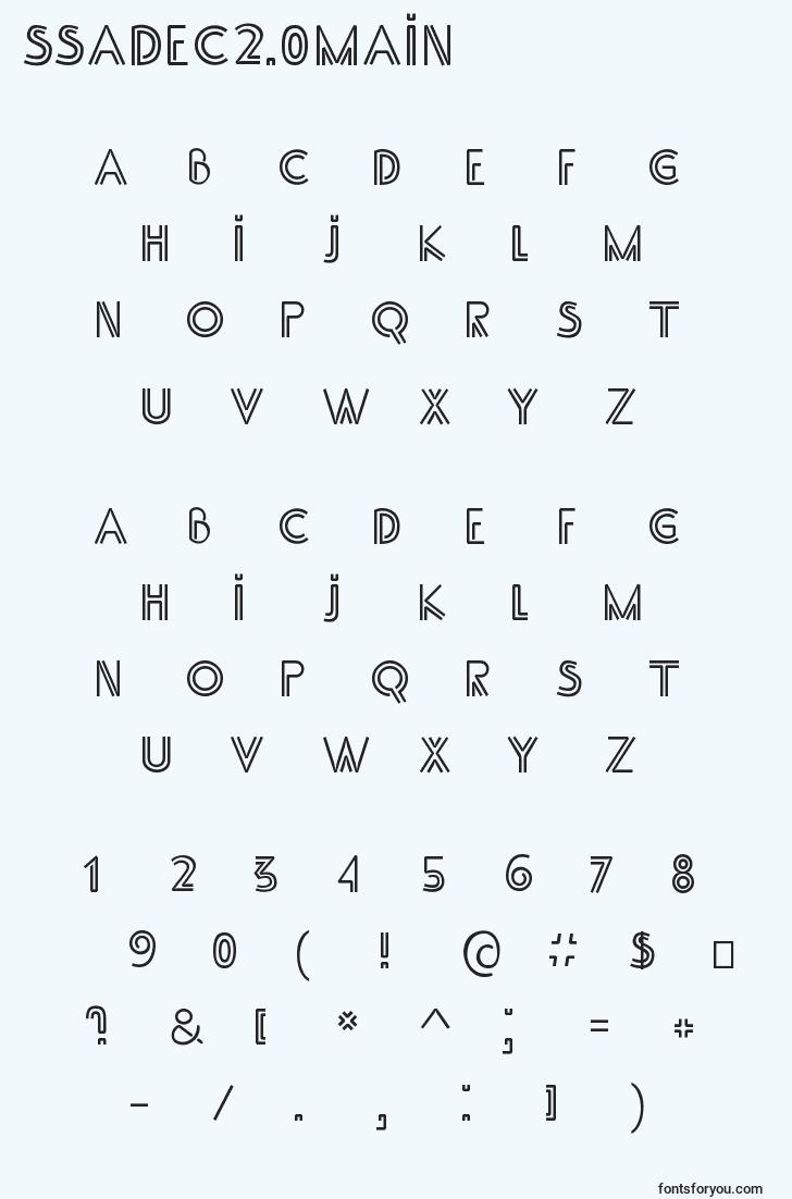 characters of ssadec2.0main font, letter of ssadec2.0main font, alphabet of  ssadec2.0main font