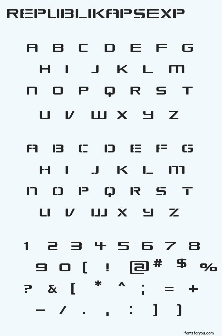 characters of republikapsexp font, letter of republikapsexp font, alphabet of  republikapsexp font