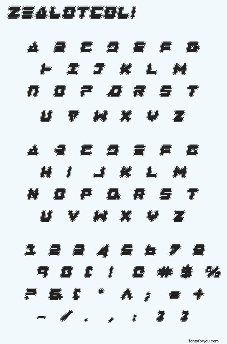 characters of zealotcoli font, letter of zealotcoli font, alphabet of  zealotcoli font