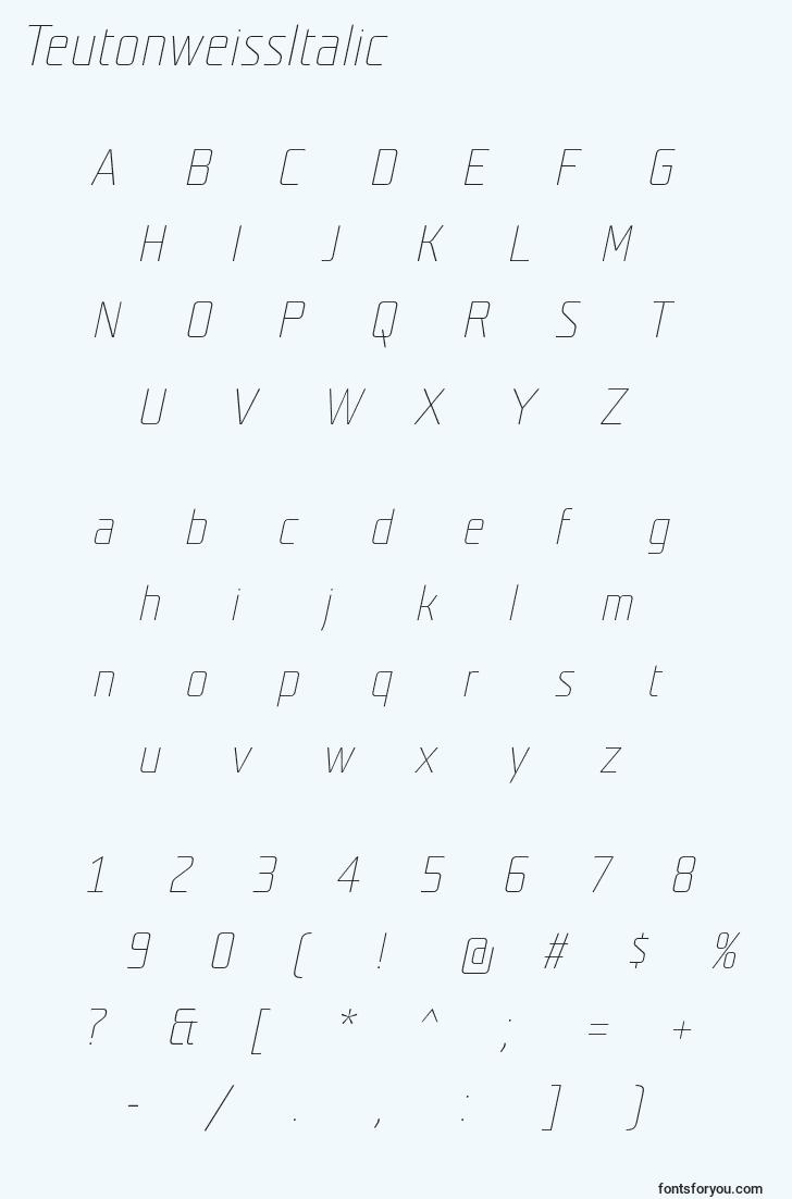 characters of teutonweissitalic font, letter of teutonweissitalic font, alphabet of  teutonweissitalic font