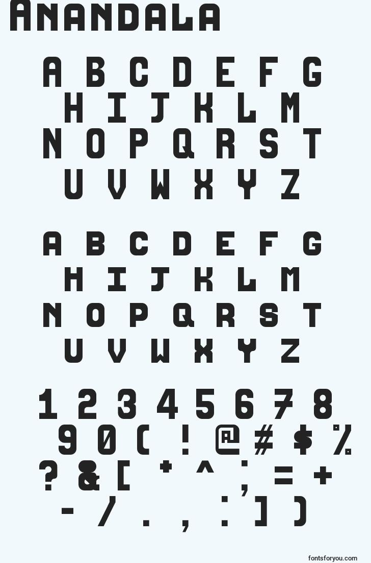 characters of anandala font, letter of anandala font, alphabet of  anandala font