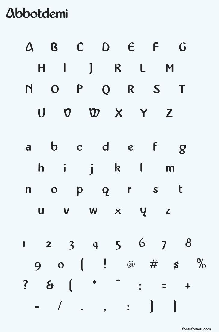 characters of abbotdemi font, letter of abbotdemi font, alphabet of  abbotdemi font