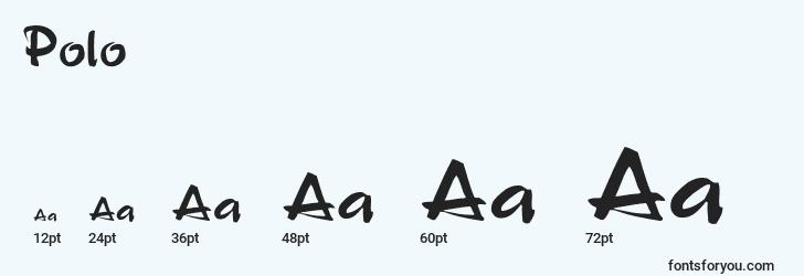sizes of polo font, polo sizes