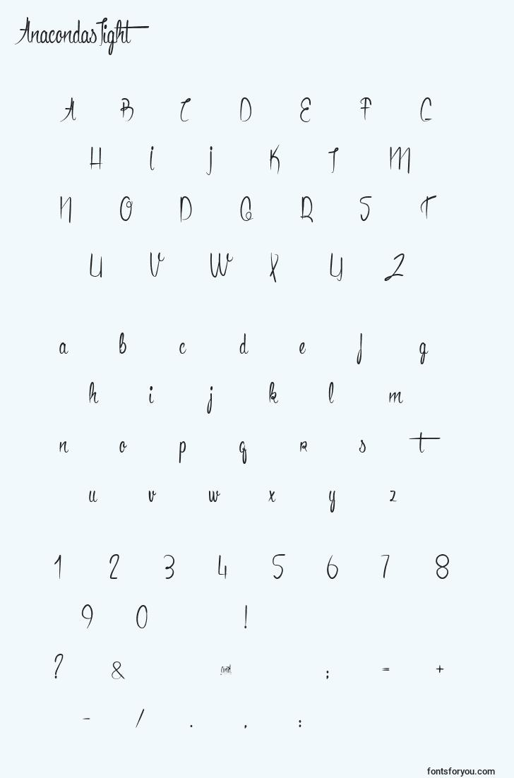 characters of anacondaslight font, letter of anacondaslight font, alphabet of  anacondaslight font