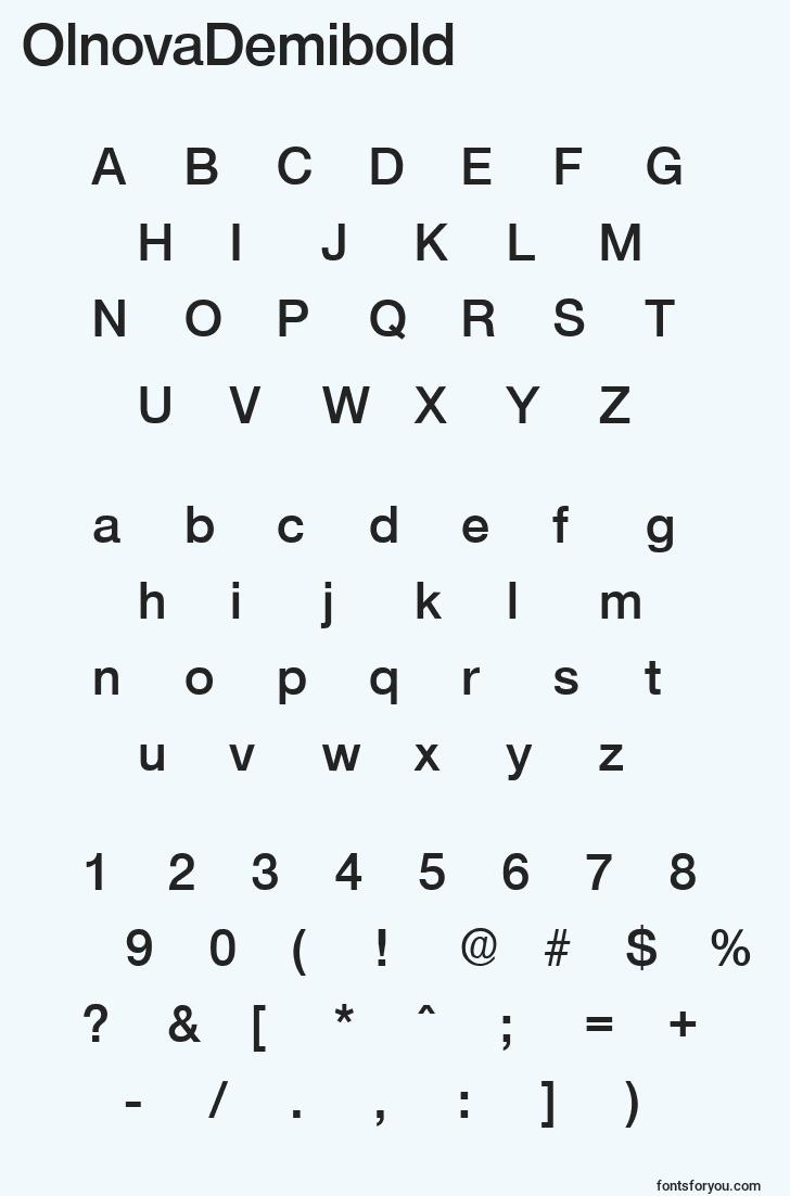 characters of olnovademibold font, letter of olnovademibold font, alphabet of  olnovademibold font