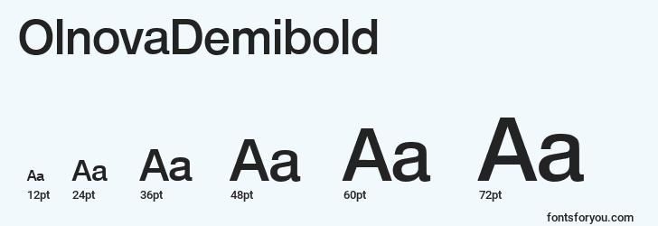 sizes of olnovademibold font, olnovademibold sizes