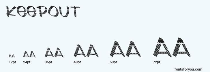 sizes of keepout font, keepout sizes