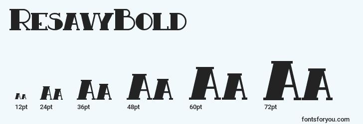 sizes of resavybold font, resavybold sizes