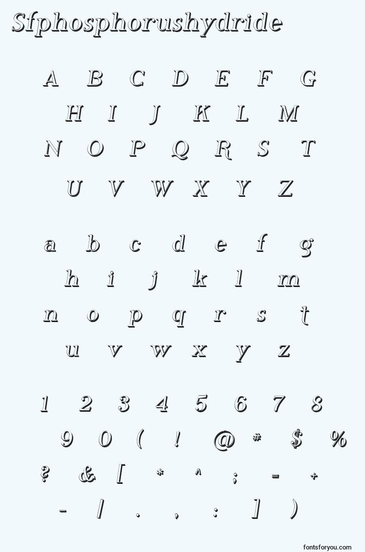 characters of sfphosphorushydride font, letter of sfphosphorushydride font, alphabet of  sfphosphorushydride font