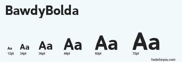 sizes of bawdybolda font, bawdybolda sizes