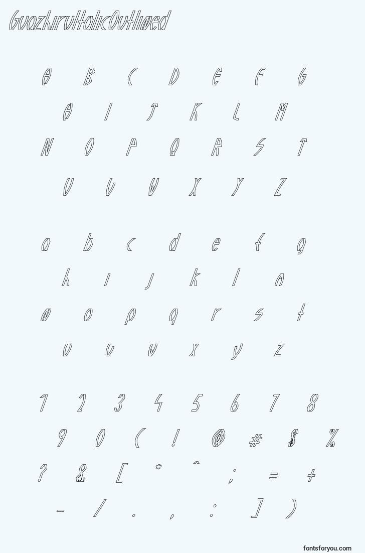 characters of guazhiruitalicoutlined font, letter of guazhiruitalicoutlined font, alphabet of  guazhiruitalicoutlined font