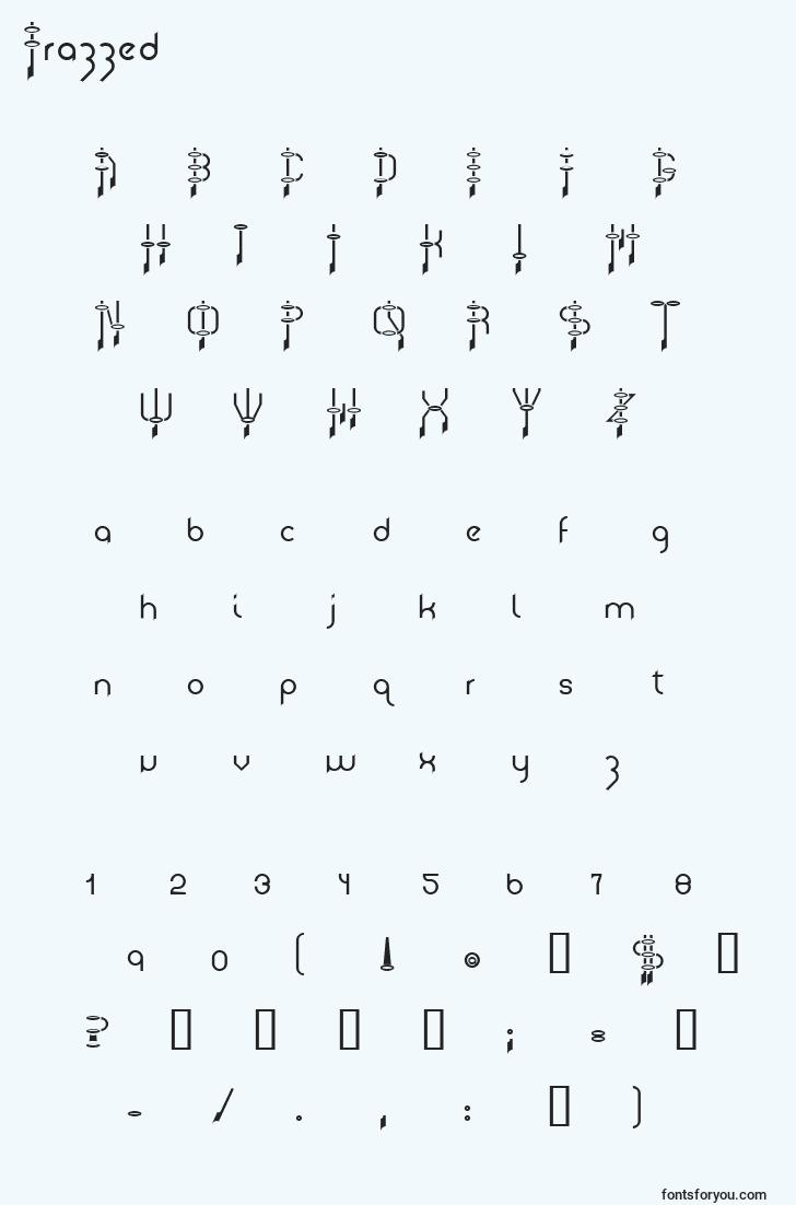 characters of frazzed font, letter of frazzed font, alphabet of  frazzed font