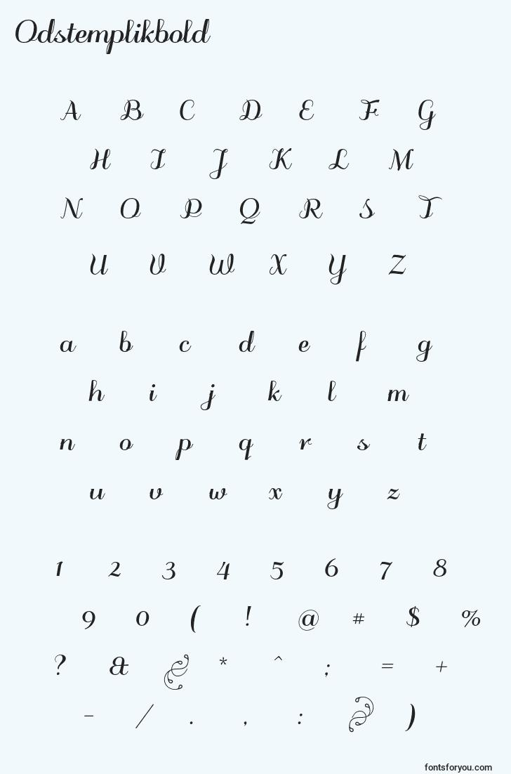 characters of odstemplikbold font, letter of odstemplikbold font, alphabet of  odstemplikbold font