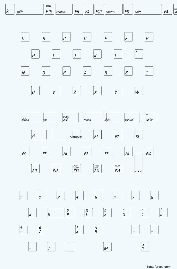 characters of keyfontfrench font, letter of keyfontfrench font, alphabet of  keyfontfrench font