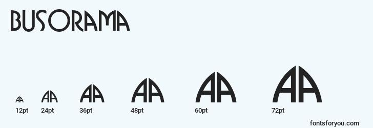 sizes of busorama font, busorama sizes