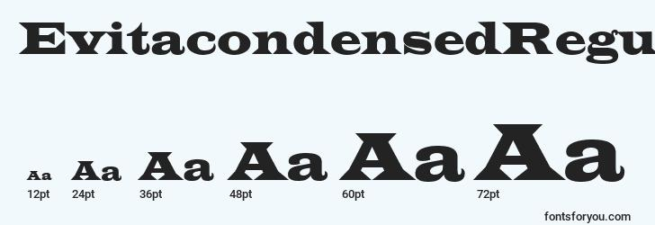 sizes of evitacondensedregular font, evitacondensedregular sizes