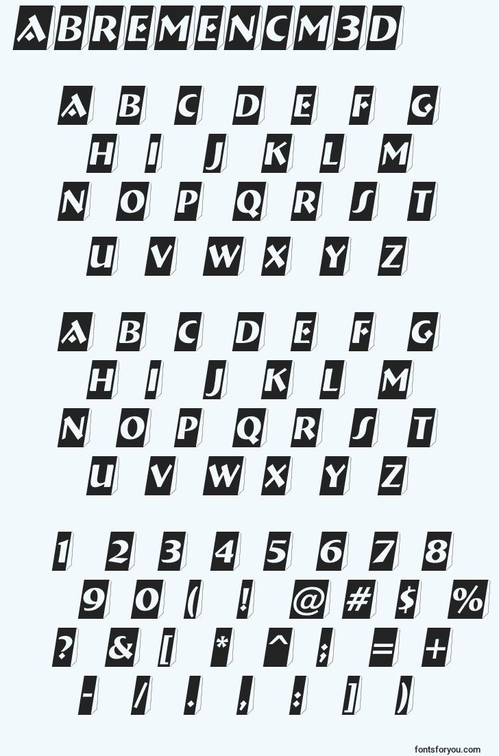 characters of abremencm3d font, letter of abremencm3d font, alphabet of  abremencm3d font