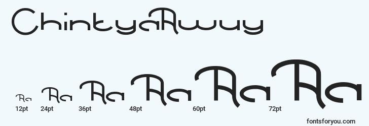 sizes of chintyaawuy font, chintyaawuy sizes