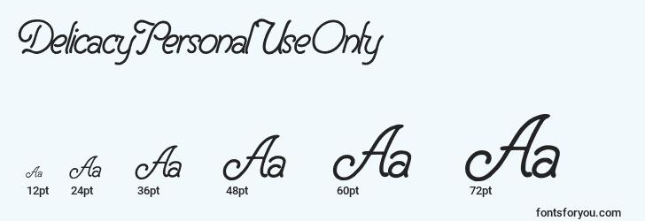 sizes of delicacypersonaluseonly font, delicacypersonaluseonly sizes