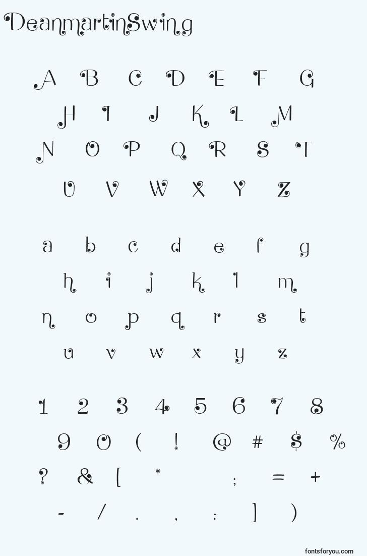characters of deanmartinswing font, letter of deanmartinswing font, alphabet of  deanmartinswing font