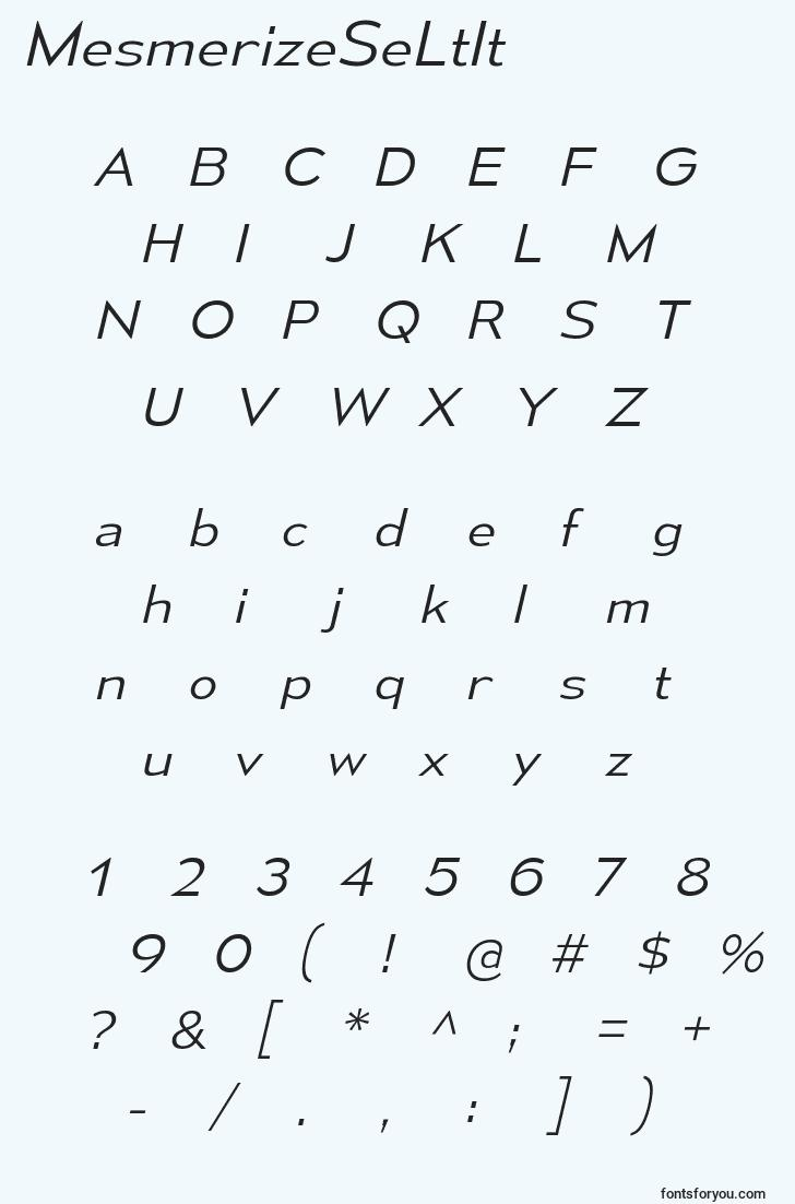 characters of mesmerizeseltit font, letter of mesmerizeseltit font, alphabet of  mesmerizeseltit font