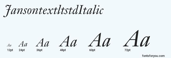 sizes of jansontextltstditalic font, jansontextltstditalic sizes
