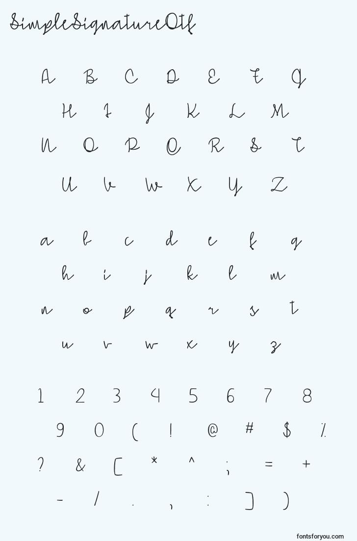 characters of simplesignatureotf font, letter of simplesignatureotf font, alphabet of  simplesignatureotf font
