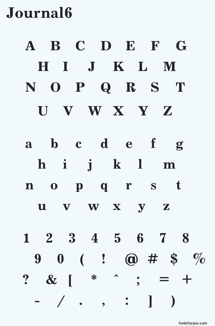 characters of journal6 font, letter of journal6 font, alphabet of  journal6 font