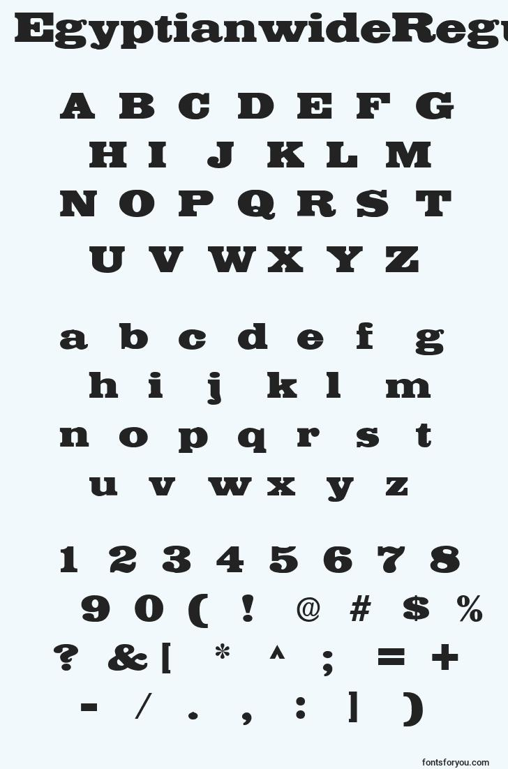 characters of egyptianwideregular font, letter of egyptianwideregular font, alphabet of  egyptianwideregular font
