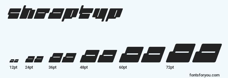 sizes of cheaptyp font, cheaptyp sizes