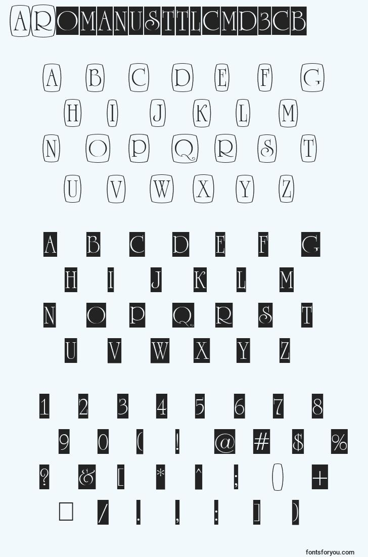 characters of aromanusttlcmd3cb font, letter of aromanusttlcmd3cb font, alphabet of  aromanusttlcmd3cb font