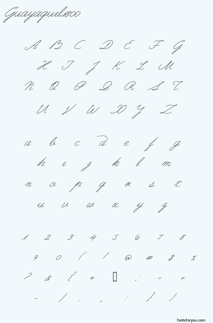 characters of guayaquil1800 font, letter of guayaquil1800 font, alphabet of  guayaquil1800 font