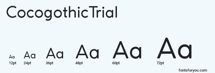 sizes of cocogothictrial font, cocogothictrial sizes