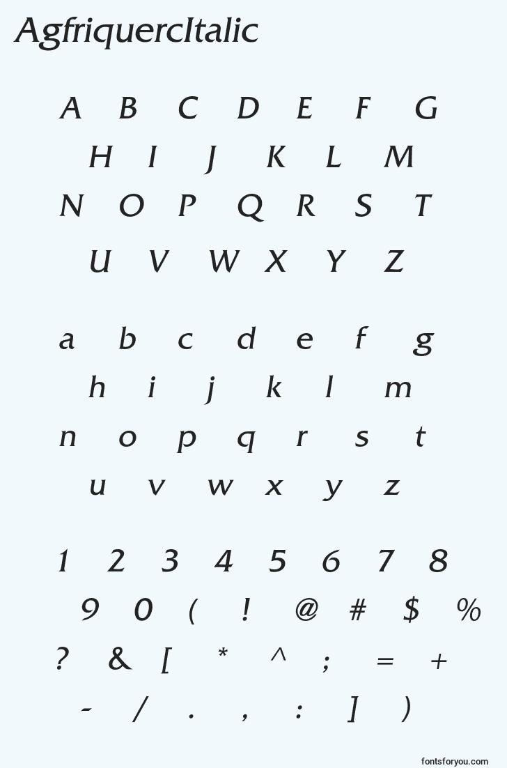 characters of agfriquercitalic font, letter of agfriquercitalic font, alphabet of  agfriquercitalic font