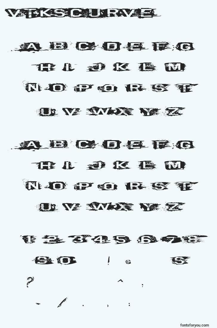 characters of vtkscurve font, letter of vtkscurve font, alphabet of  vtkscurve font