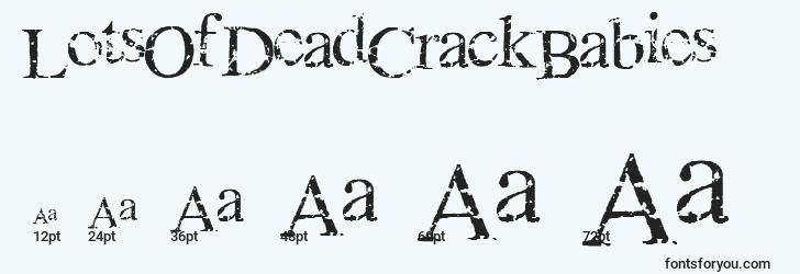 sizes of lotsofdeadcrackbabies font, lotsofdeadcrackbabies sizes