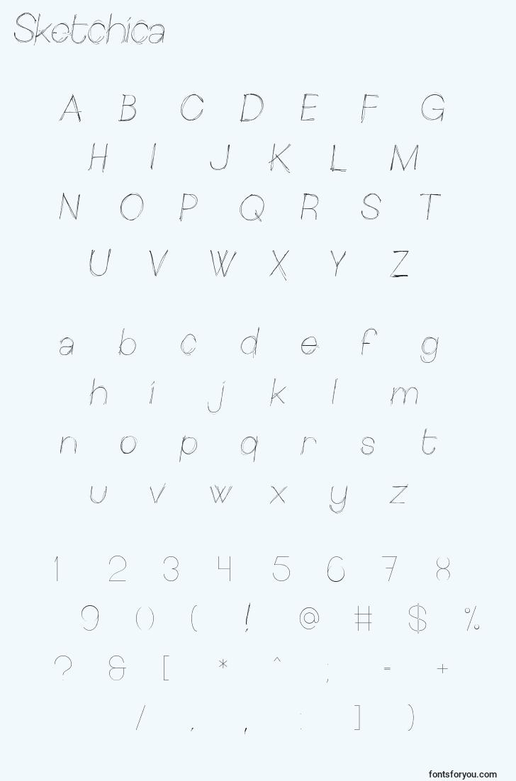 characters of sketchica font, letter of sketchica font, alphabet of  sketchica font
