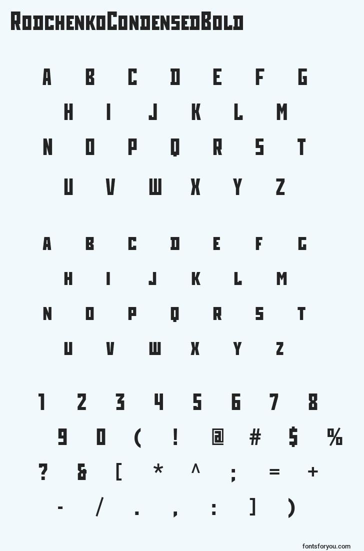 characters of rodchenkocondensedbold font, letter of rodchenkocondensedbold font, alphabet of  rodchenkocondensedbold font