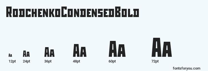 sizes of rodchenkocondensedbold font, rodchenkocondensedbold sizes