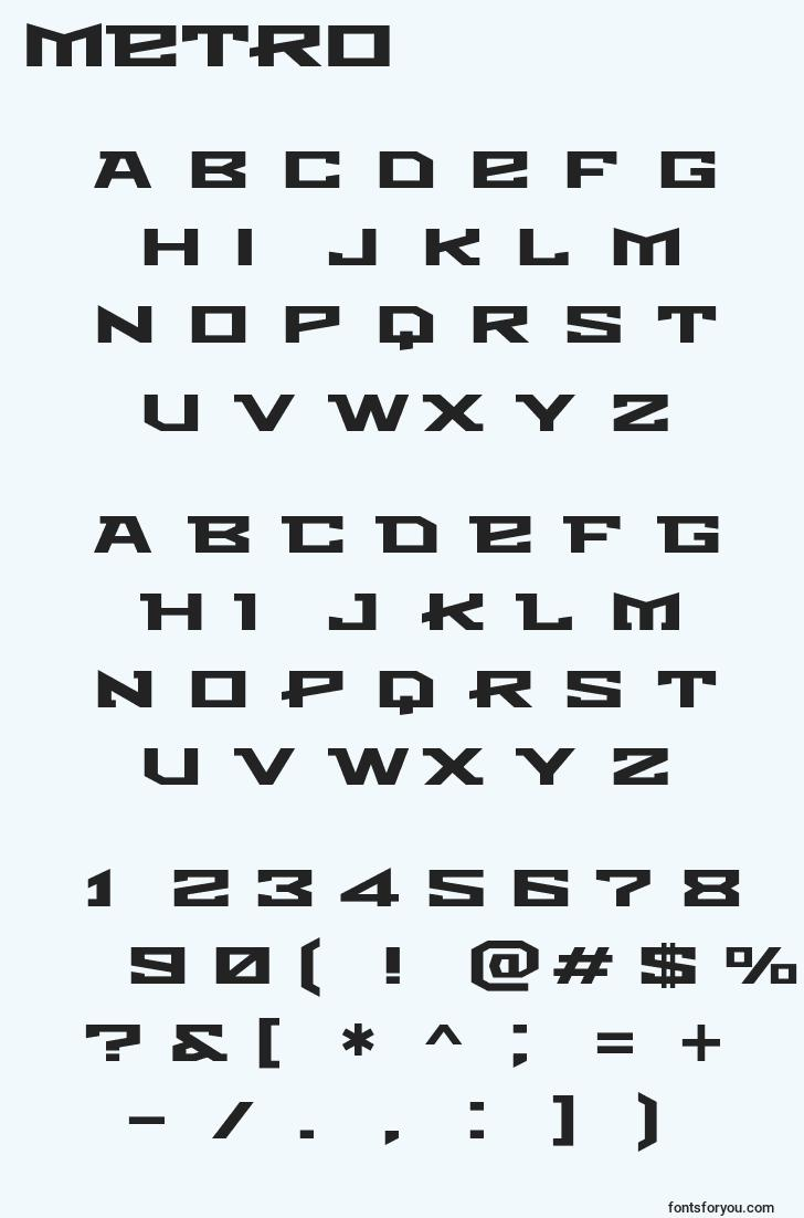 characters of metro font, letter of metro font, alphabet of  metro font