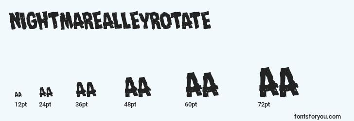 sizes of nightmarealleyrotate font, nightmarealleyrotate sizes