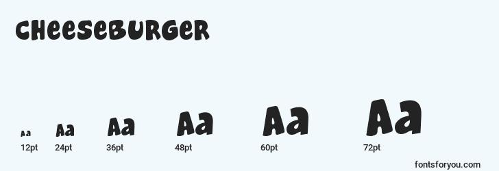sizes of cheeseburger font, cheeseburger sizes