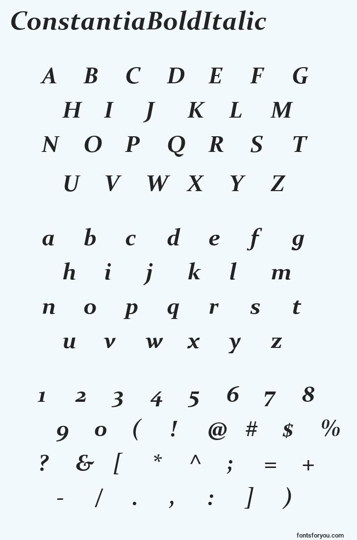 characters of constantiabolditalic font, letter of constantiabolditalic font, alphabet of  constantiabolditalic font