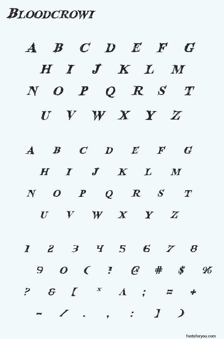 characters of bloodcrowi font, letter of bloodcrowi font, alphabet of  bloodcrowi font