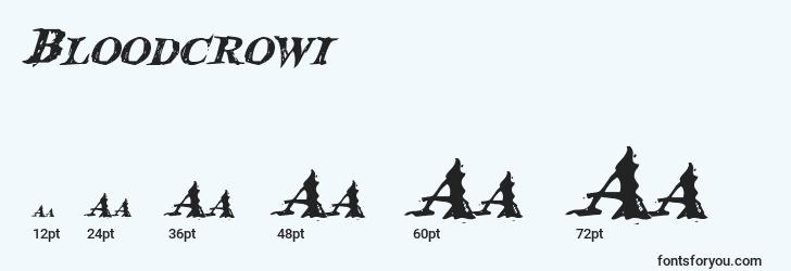 sizes of bloodcrowi font, bloodcrowi sizes