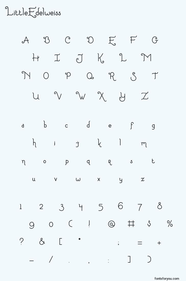 characters of littleedelweiss font, letter of littleedelweiss font, alphabet of  littleedelweiss font