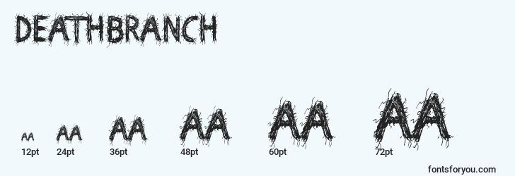 sizes of deathbranch font, deathbranch sizes